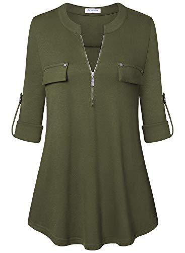 Bulotus Women's V Neck 3/4 Sleeve Fall Clothes Casual Top Shirt,Green,Medium