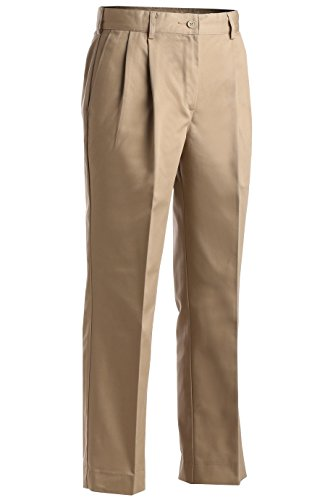 Womens Pant Pleated (Edwards Garment Women's Utility Pleated Pant, Tan, 6 32)