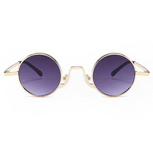 Redondas Montura De para Metálica Gafas Sol Sol Moda Frame Gafas Sol Viajar Grey Golden Circle De Fansport Gafas De con Lens De FAPq8n
