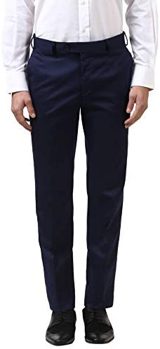 Raymond Polyester Blend Blue Slim Fit Trouser