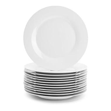 10 Strawberry Street 10.5  White Dinner Plates, Set of 12,Dishwasher safe