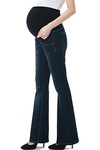 - Momo Maternity Womens Stretchy Full Panel Flare Leg Denim Jeans,Rich Indigo Blue,30
