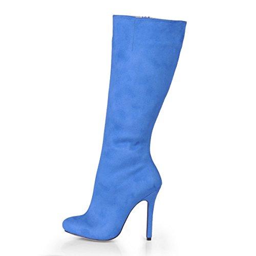 Best 4U® Botas De Mujer para El Otoño De Invierno Elástico De Terciopelo 12CM Tacones De Aguja De Goma del Estilete Único Punta Estrecha Otoño Invierno Zapatos Azul Negro A