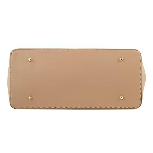 81415484 - TUSCANY LEATHER: ELETTRA - Sac à main pour femme en cuir Ruga avec finitions couleur or, Jaune
