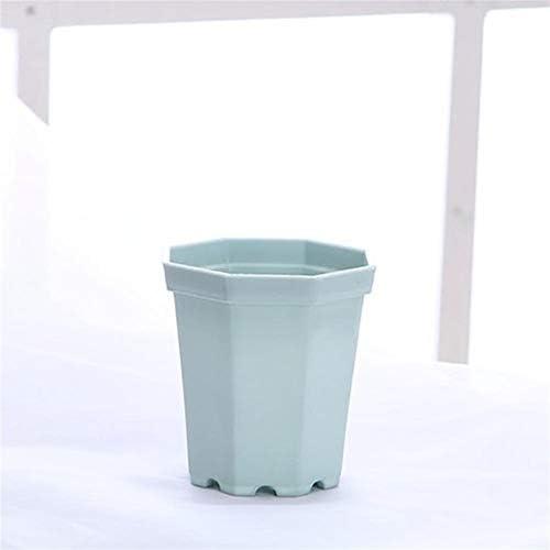 4 Stücke moderner Kunststoff Octagon Blumentopf Hausgarten-Büro-Schreibtisch-Sukkulente Pot Matt Glanz Garten Dekoration Töpfe (Color : Blue, Sheet Size : 6.8x4.8x7.4cm)