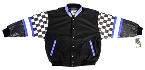 AUTHENTIC APPAREL Black Leather and Wool Varsity Racing Jacket with Iconic Championship Checker Flag Sleeves (Large - L)