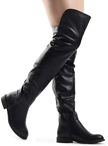 LUSTHAVE Women's Over The Knee Tall Riding Boots - Lounge Low Stacked Lounge High Low Collar Black PU 6 ()