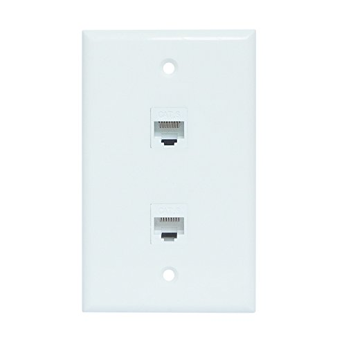 (Ethernet Wall Plate 2 Port, ESYLink Cat6 Ethernet Cable Wall Plate Female to Female - White)