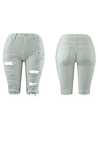 Ripped De Pantalones Longitud Hoyo Mujer Jeans Pantalones La Distressed De Casual Blanco La Rodilla 0TxwqpA