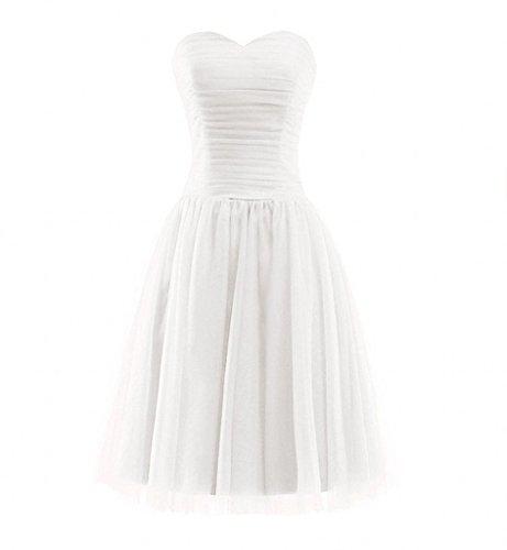 Traegerlos Partykleider Weiß Kurz linie Bride Abendkleider Herzausschnitt Brautjungfernkleider A Milano Einfach Rock TqxZwXAnnt