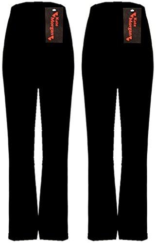 KACEY MORGAN conjunto de dos pantalones de mujer con cuidado corte acampanado. Tallas 38-54, tres largos distintos, negro, azul marino o marrón. negro