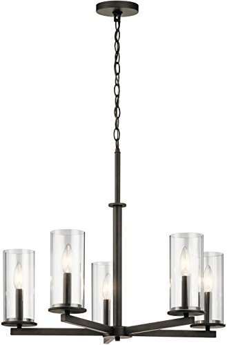 Kichler 43999OZ Crosby 26.25 5-Light Clear Glass Chandelier in Olde Bronze