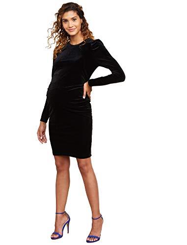 (Motherhood Maternity Women's Maternity Puff Long Sleeve Velvet Side Ruched Bodycon Dress, Black, Small)