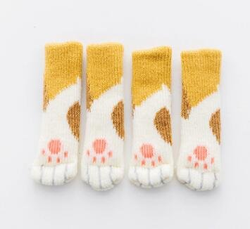 Anti Slip Mat Cute Furniture Leg Feet Caps Felt Pads | Cat Claw Chair Leg Socks | Table Protector Prevent Dog Cat Scratching (4pcs)