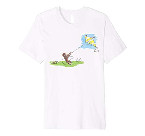 (Curious George Flies Kite On A Sunny Day Premium T-Shirt)