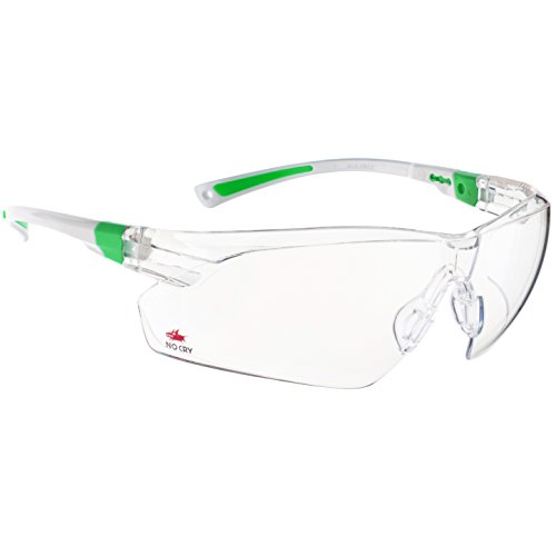 NoCry Safety Glasses with Clear Anti Fog Scratch Resistant Wrap-Around Lenses and No-Slip Grips, UV Protection. Adjustable, White & Green - Plus Carpenter Glove