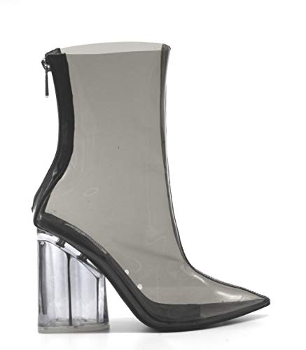Cape Robbin Crystal Glaze Womens Perspex Lucite Clear Pointy Toe Chunky Heel Ankle Boots,Black,8