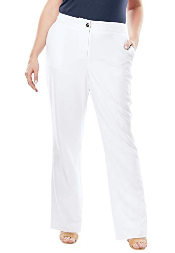(Jessica London Women's Plus Size Boot Cut Bi-Stretch Pants - White, 18)