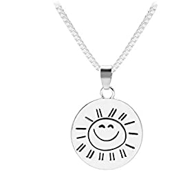 """You Are My Sunshine My Only Sunshine ""Heart Pendant Necklace for Women Jewelry Gifts for Kids (smile face)"