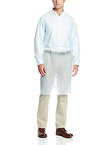 ValuMax 3230B Disposable Isolation Gown, Elastic Cuff, Tie Back, Knee Length, Splash Resistant, Blue, Regular Size, Case of 50 by Valumax (Image #1)