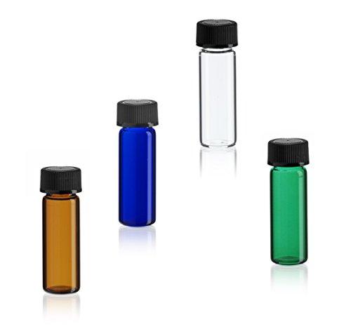 MagnaKoys 1 Dram & 2 Dram Variety Pack of Glass Vials w/Black Caps for Essential Oils & Liquids (4 Pack) (1 DRAM)