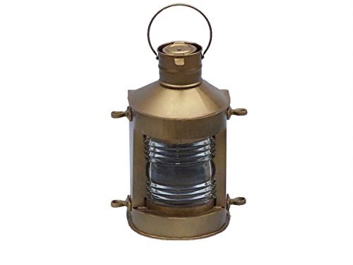 Handcrafted Model Ships NL-1133-10-AN Antique Brass Masthead Oil Lamp - 12 in. - Brass Ships Lantern