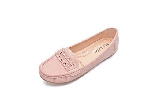 Comfortable Cushioned Insole Slip On Loafer Moccasins Flats Driving & Walking Shoes for Women, Angie Pink Size 11 ()
