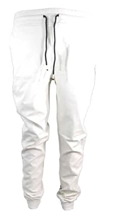 Smoke Rise: Mens Faux Leather Pants (COLOR: WHITE) (SIZE