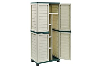 6ft Beige Plastic Garden Storage Utility Shed Cabinet with shelves ...