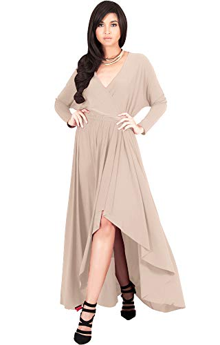 KOH KOH Plus Size Womens Long Sleeve Sleeves Wrap Slit Split Formal Fall Winter Cocktail Sexy Flowy Evening Day Abaya Gown Gowns Maxi Dress Dresses, Nude Champagne Brown 4XL 26-28 (Plus Size Wedding Dresses Size 28 And Up)