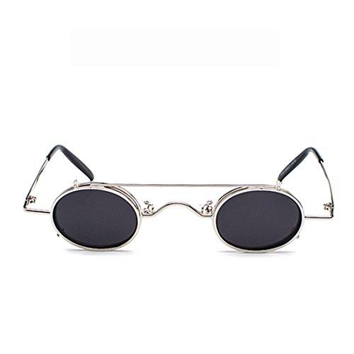 Sunglasses Plateado Gafas Clamshell Negro Gafas Retro Desmontables Circle sol de Yefree wRq8vUU
