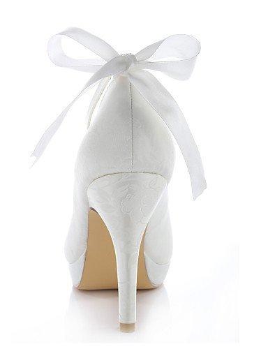 ShangYi Schuh Damen - Hochzeitsschuhe - Absätze / Rundeschuh - High Heels - Hochzeit / Kleid / Party & Festivität - Blau / Lila / Elfenbein / Silber , 4in-4 3/4in-ivory