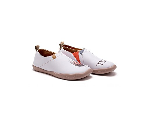 Slip Shoe Painted White UIN On Leather Women's Art Memory SnYUH