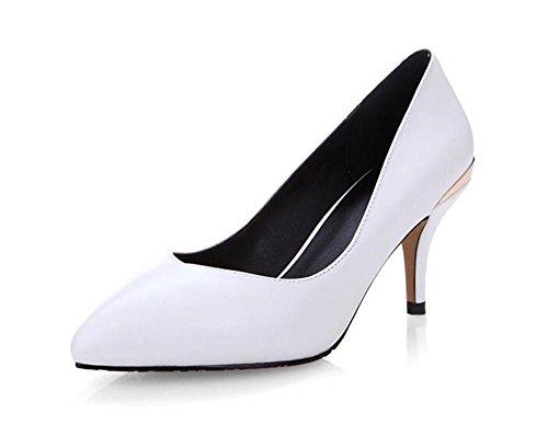 Chaussures de printemps à talons hauts Pointe orteil avec bouche superficielle Chaussures de travail professionnel Chaussures simples , white -9cm , 37