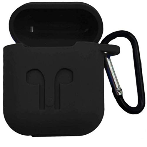 Airpod Case/airpod Carrying case, Silicone airpod Covers Shock Proof Protection Sleeve Carrying Bag Case Cover with Key Chain for Apple AirPods Wireless Headset (Black)