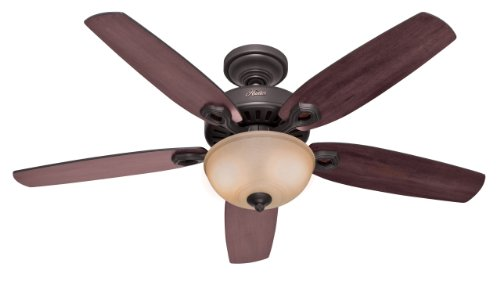Best Seller in Ceiling Fans Hunter 53091 Builder Deluxe 5-Blade Single Light Ceiling Fan with Brazilian Cherry/Stained Oak Blades and Piped