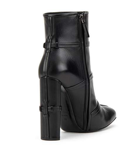 Ankle Zipper Shiney Comfortable Black Booties Cross Heel Boots High Side Heel Knot Women's Chunky PvZnxP
