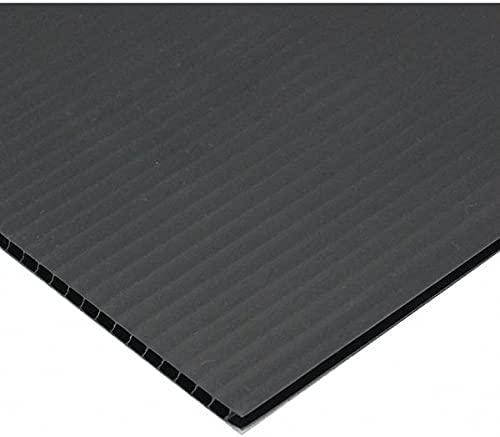 """Crownhill Packaging Inc Corrugated Plastic Sheets, 19 x 53"""", Black, 4mm thick"""