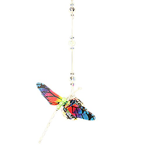 Oval Message Bead - Dragonfly Rainbow Figurine with 30mm Crystal Ball Bead - Rainbow Maker - Crystal Suncatcher - Home, Living Room, Bedroom, Kitchen, Car Decoration - Porch Decor - Sun Catcher - Hangings Crystal Glass Ornament