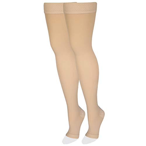NuVein Medical Compression Stockings, 20-30 mmHg Support, Women & Men Thigh Length Hose, Open Toe, Beige, Small
