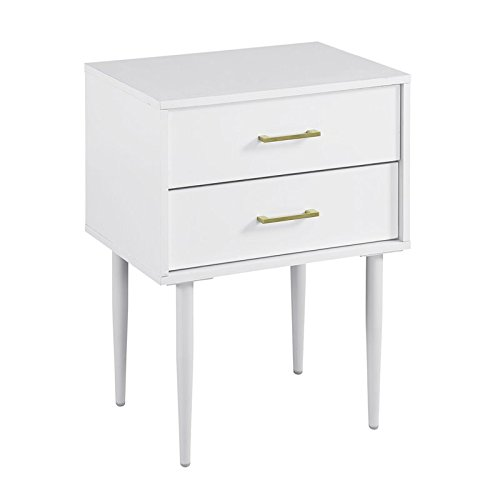 """Price comparison product image Walker Edison 20"""" Olivia Two-Drawer Side Table - White"""