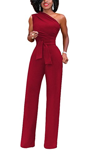Women's Sexy Street Fashion Office Lady Off The Shoulder Sleeveless Wide Leg Romper Jumpsuit Long Party Club Bandage Club Dress Red XXL ()