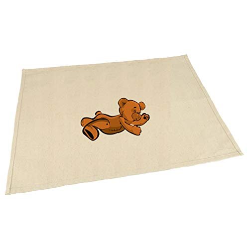 Teddy Bear Lying On Stomach Cotton Canvas Placemat Table Mat Natural One Size