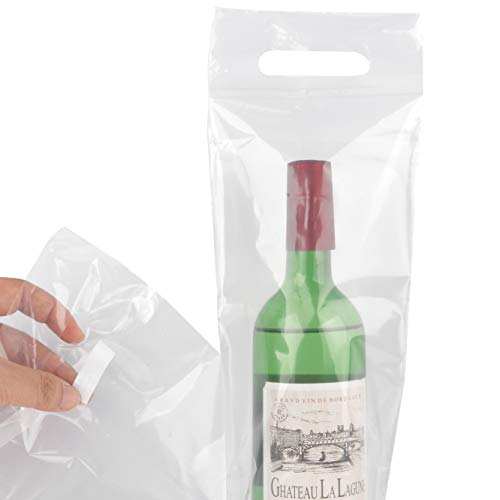 50pk Wine To Go Bag - Perfect Use For Restaurant, Bar & Travel Bags - Sturdy Handle And Tamper Proof Seal - Clear Plastic