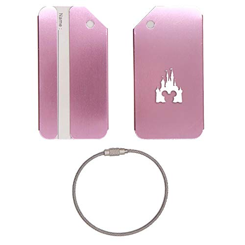 CINDERELLA CASTLE CLIPART STAINLESS STEEL - ENGRAVED LUGGAGE TAG (ROSE GOLD) - UNITED STATES MILITARY STANDARD - FOR ANY TYPE OF LUGGAGE, SUITCASES, GYM BAGS, BRIEFCASES, GOLF BAGS