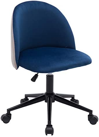 Leyo Home Office Chair Wheels Upholstered Mid-Back Desk Chair Linen Task Swivel Chair