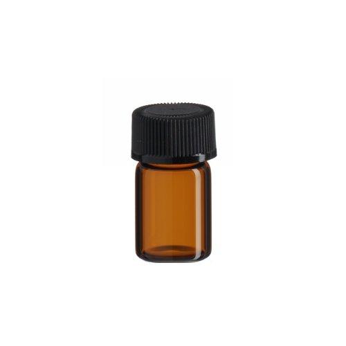 5/8 Dram AMBER Glass Vial - Screw Cap w/ Orifice Reducer- Pack of (Lined Screw Cap)