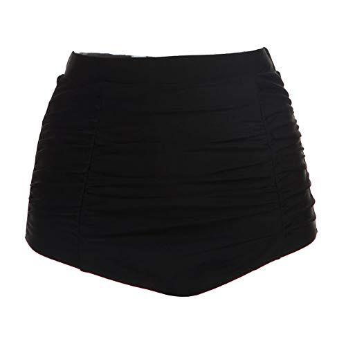 (DLOREUK Women's Retro High Waisted Bikini Bottom Ruched Swim Short Tankinis(Black Bottom,XL))
