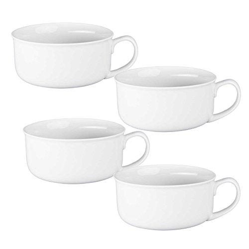 BIA Cordon Bleu Porcelain Soup Cup with Handle, White, Set of 4 ()
