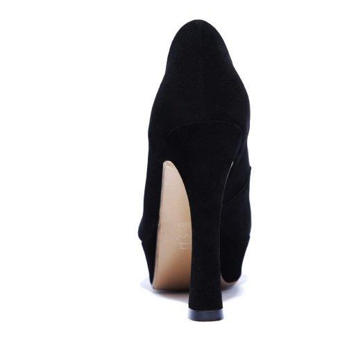 Amoonyfashion Femmes Bout Rond Fermé-orteil Talons Hauts Pompes-chaussures Avec Talons Chunky Noir